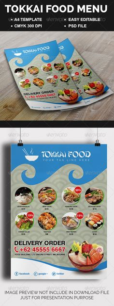 Tokkai Food Menu by Febrian21 File Information1 PSD File A4 size: (8.311,7 inches)   bleedsFully Editable Photoshop LayerAll of text EditableCMYK with 300 DPIP