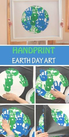 Handprint Earth Day art project for children. Perfect Earth Day classroom crafts for . - Popular images - Handprint Earth Day art project for children. Perfect Earth Day classroom crafts for … – # - Earth Day Projects, Spring Art Projects, Toddler Art Projects, Toddler Crafts, Children Art Projects, Toddler Daycare Rooms, Toddler Classroom, Daycare Crafts, Classroom Crafts