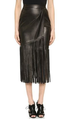 24079049c5 Tamara Mellon Leather Fringe Skirt Black Pleated Skirt, Black Leather Skirts,  Fringe Skirt,