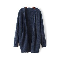 Navy Long Sleeve Loose Knit Cardigan (1.540 RUB) ❤ liked on Polyvore featuring tops, cardigans, tops/outerwear, blue, long sleeve cardigan, loose tops, blue top, long sleeve tops and navy cardigan
