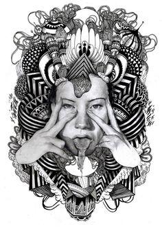 Psychedelic Art Black And White Illustration & art