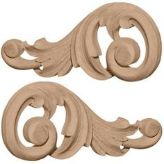 Ekena Millwork Swaying 3 1/8''H x 7 1/8''W x 5/8''D Small Scrolls Onlay, Multicolor