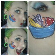 Fruit bowl face painting by Painted Mistress