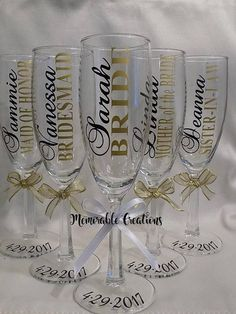 SALE: Bridal Party Champagne Glasses, Bridesmaid Maid of Honor Mother of Bride Gifts, Champagne Toast, Wedding Champagne Flutes, Personalize Bridal Glasses, Bridesmaid Glasses, Wedding Glasses, Bridesmaid Gifts, Bridesmaids, Personalized Champagne Flutes, Personalised Glasses, Personalized Wedding, Wedding Champagne Flutes