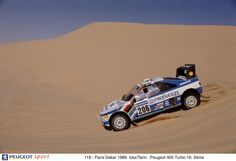 Jacky Ickx in a Peugeot 405 T16 GR during the 1989 Paris-Dakar Rally