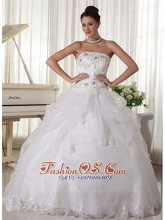 white strapless wedding dress in 2013 | strapless wedding dresses white | strapless bridal dress with puffy skirt | dropped waist wedding dress | perimeter mall | organza wedding dresses with floor length | beaded wedding dresses | strapless wedding  gmmg