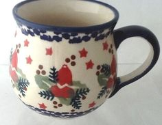 Polish Pottery Small 6 Ounce Bubble Mug Unikat Jingle Bells. Look for these in several styles in our Polish booth!