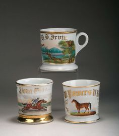 THREE PORCELAIN PAINTED AND GILT OCCUPATIONAL SHAVING MUGS. | Northeast Auctions