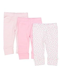 Take a look at this SpaSilk Pink Dot Three-Piece Pants Set - Infant today!