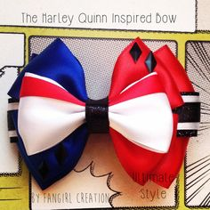 The Harley Quinn Inspired Bow by FangirlCreation on Etsy