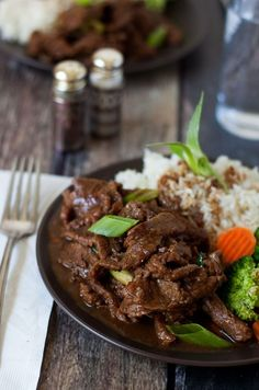 Pressure Cooker Mongolian Beef made with flank steak thinly sliced then cooked in a lightly sweet, garlic ginger sauce until it's melt in your mouth tender.