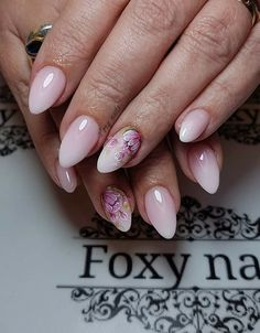 - French Tip Nail Designs, French Tip Nails, Acrylic Nail Designs, Teen Nails, Cherry Blossom Nails, Graduation Nails, Floral Nail Art, Almond Acrylic Nails, Pretty Nail Art