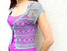 Crochet Bolero Grey Cotton Lace Bolero Jacket Knit by TaramayKnit