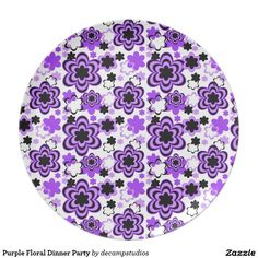 Purple Floral Dinner Party Dinner Plate