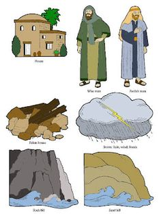 The Wise Man & The Foolish Man illustrations