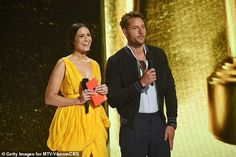 Mandy Moore dons yellow dress at MTV Movie & TV Awards, three months after giving birth | Daily Mail Online Dandelion Yellow, Tv Awards, Mandy Moore, Yellow Dress, Mtv, Mail Online, Daily Mail, Movie Tv, Birth