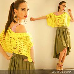 Joannekitten resort style crochet hollow circular pattern sweater coat sunflowers