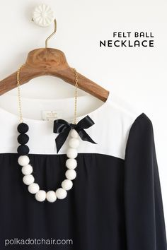 DIY Felt Ball Statement Necklace tutorial. Cute idea for making your own jewelry.