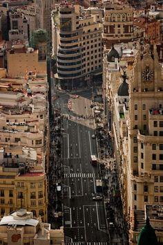 Madrid desde el aire, Gran Vía : : Emilio Naranjo Fotografía