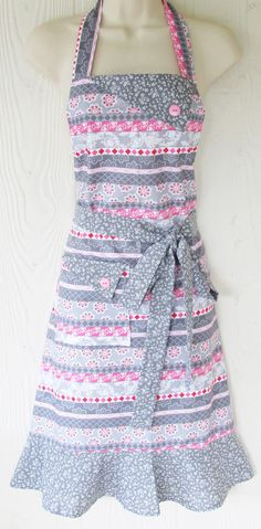 Pink and Gray Floral Apron Flowers and Stripes by KitschNStyle