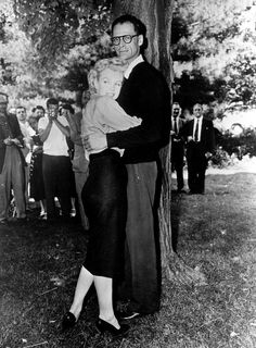 Actress Marilyn Monroe and playwright Arthur Miller embrace on the lawn of Miller's home in Roxbury, Conn., on June 29, 1956, several hours before they were married in White Plains, N.Y. Photo: AP / AP