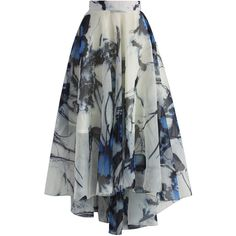 Chicwish Butterfly Paradise Waterfall Frilling Skirt ($45) ❤ liked on Polyvore featuring skirts, bottoms, saia, blue, blue skirt, butterfly skirt, blue high waisted skirt, flouncy skirt and waterfall skirt