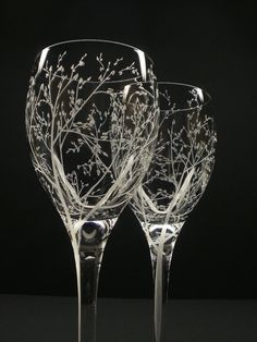Two White Wine Glasses . 'Branches & Leaves' . Hand Engraved Wedding Gift . Bridal Party Crystal Glass Stemware. $58.25, via Etsy.