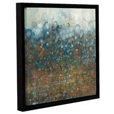 'Blue and Bronze Dots' by Danhui Nai Framed Painting Print