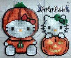 Pumpkin Hello Kitties by PerlerPixie on DeviantArt Easy Perler Bead Patterns, Perler Bead Templates, Diy Perler Beads, Perler Bead Art, Craft Patterns, Stitch Patterns, Halloween Beads, Halloween Patterns, Hello Kitty