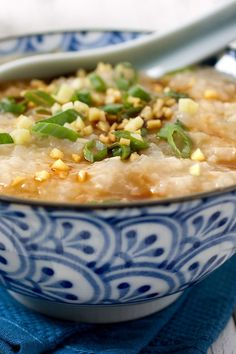 Congee is regarded as the ultimate Chinese comfort food, according to the author Fuchsia Dunlop This recipe for ji zhou or chicken congee, from her book on Jiangnan regional cuisine, is dead simple and satisfying Serve it with chicken and soy sauce for a Soup Recipes, Chicken Recipes, Cooking Recipes, Cooking Pasta, Chicken Soup, Yummy Recipes, Cake Recipes, Asian Recipes, Ethnic Recipes