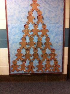 December bulletin board - gingerbread Christmas tree - elementary school