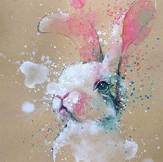 Bunny watercolor with pencil painting art by tilentiart Mais Pencil Painting, Gouache Painting, Painting & Drawing, Bunny Painting, Eagle Painting, Bunny Drawing, Painting Lessons, Pencil Art, Pencil Drawings