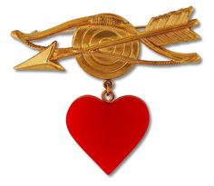 Vintage Brass Brooch with Bakelite Heart