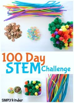 100 Day STEM Challenge - Simply Kinder The day of school is coming up soon. Try this 100 Days STEM Activity with your class. It's tons of fun and packed full of learning. 100th Day Of School Crafts, 100 Day Of School Project, 100 Days Of School, 100 Day Project Ideas, Défis Stem, Stem Science, Life Science, Science Activities, Movement Activities