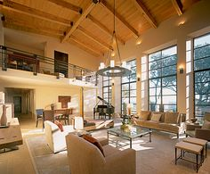 Vaulted ceiling and exposed beams