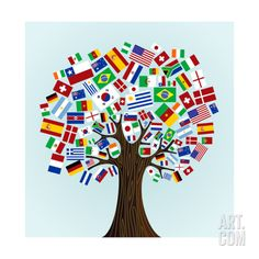 Flags Of The World Tree Print by cienpies at Art.com