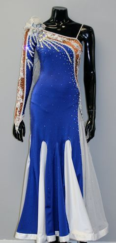 Royal Blue Ballroom Dance Dress  Dance Smooth by DesignByNatasha