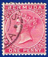 Bermuda 19 Stamp - Queen Victoria Stamp - AT BER 19-1 USED