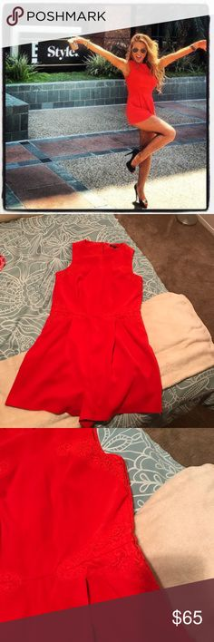ASO Jessie James decker. Top shop red romper ASO Jessie James decker. Super cute and flattering. Excellent condition! Offers welcome 😊😊 Topshop Pants Jumpsuits & Rompers