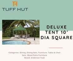 Deluxe Tent 10′ dia Square Categories: Shade & Shelter, Tents Brand: Fiberbuilt Umbrellas #tuffhut #squarenails #shelter #tents #shade #deluxe #gasgrills Canopy Tent, Tents, Shade Umbrellas, Wood Patio Furniture, Table And Chair Sets, Dining Set, Shelter, Shades, Outdoor Decor
