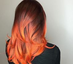 37 Hottest Ombré Hair Color Ideas of 2019 - Style My Hairs Orange Ombre Hair, Red Ombre, Cabelo Ombre Hair, Cheveux Oranges, Fire Hair, Fire Ombre Hair, Natural Hair Styles, Long Hair Styles, Bright Hair