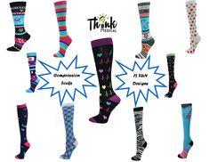 Nurse Healthcare Medical 8-15mmHG Compression Socks - 12 Fun Designs- SALE! #TM #CompressionSocks