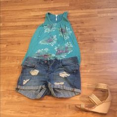 Summer tank top Flowered teal tank top Tops Tank Tops