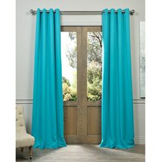 Exclusive Fabrics Aqua Grommet Top Blackout Curtain Panel Pair ($65) ❤ liked on Polyvore featuring home, home decor, window treatments, curtains, blue, window curtains, grommet curtain panels, aqua curtains, grommet window panels and window curtain panels