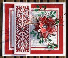 Spellbinders - Poinsettia - Weihnachsstern Spellbinders - Cherry Blossoms Creative-Expressions - Noble Collection - Double Pierced Rectangles Creative Expressions - Holly Sprays Creative-Expressions - Festive Collection - Snowflake Creative-Expressions - Frosted Stripes