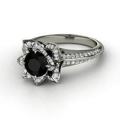 Brilliant Lotus Ring,   Round Black Onyx   Platinum Ring  with Diamond
