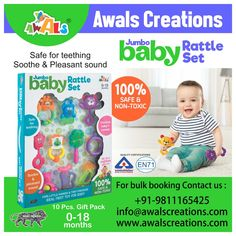 Introducing #Baby Rattle Set for your little #toddlers, 100% safe to use made with #nontoxic plastic material, an exclusive #madeinIndia product and perfect for #gifting #babyshower #gift #gifts #giftideas #indianmanufacturers #toymanufacturers #newborn #infant #childrentoys #toys #rattles #rattleset #safety #games #colours #shapes #teething #awalscreations