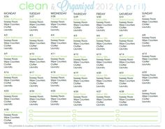 FREE Cleaning Schedule for April - via Clean Mama