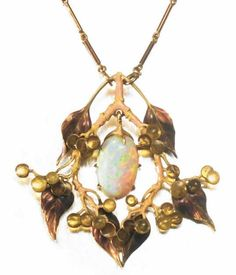 Pendant with Violet Leaves and Fruit. Rene Lalique (1860-1945). Circa 1900. Gold, enamel and opal. by SayaValentine