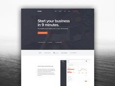 """Landing Page - Nice pitch: """"Start your business in 9 minutes."""""""
